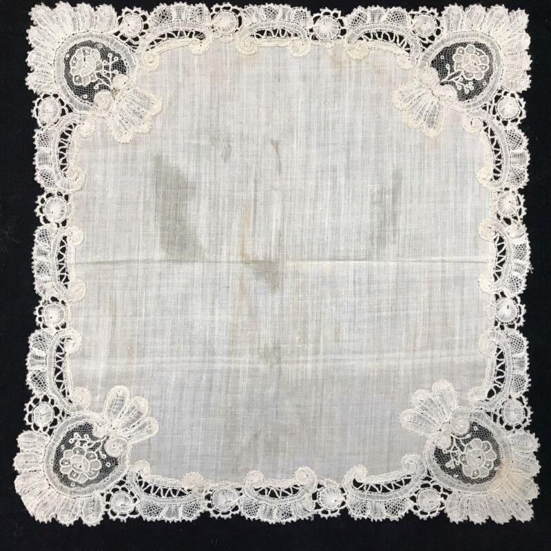 Antique Handmade Ivory Wedding Hankie Handkerchief w/ Lace (RF636)