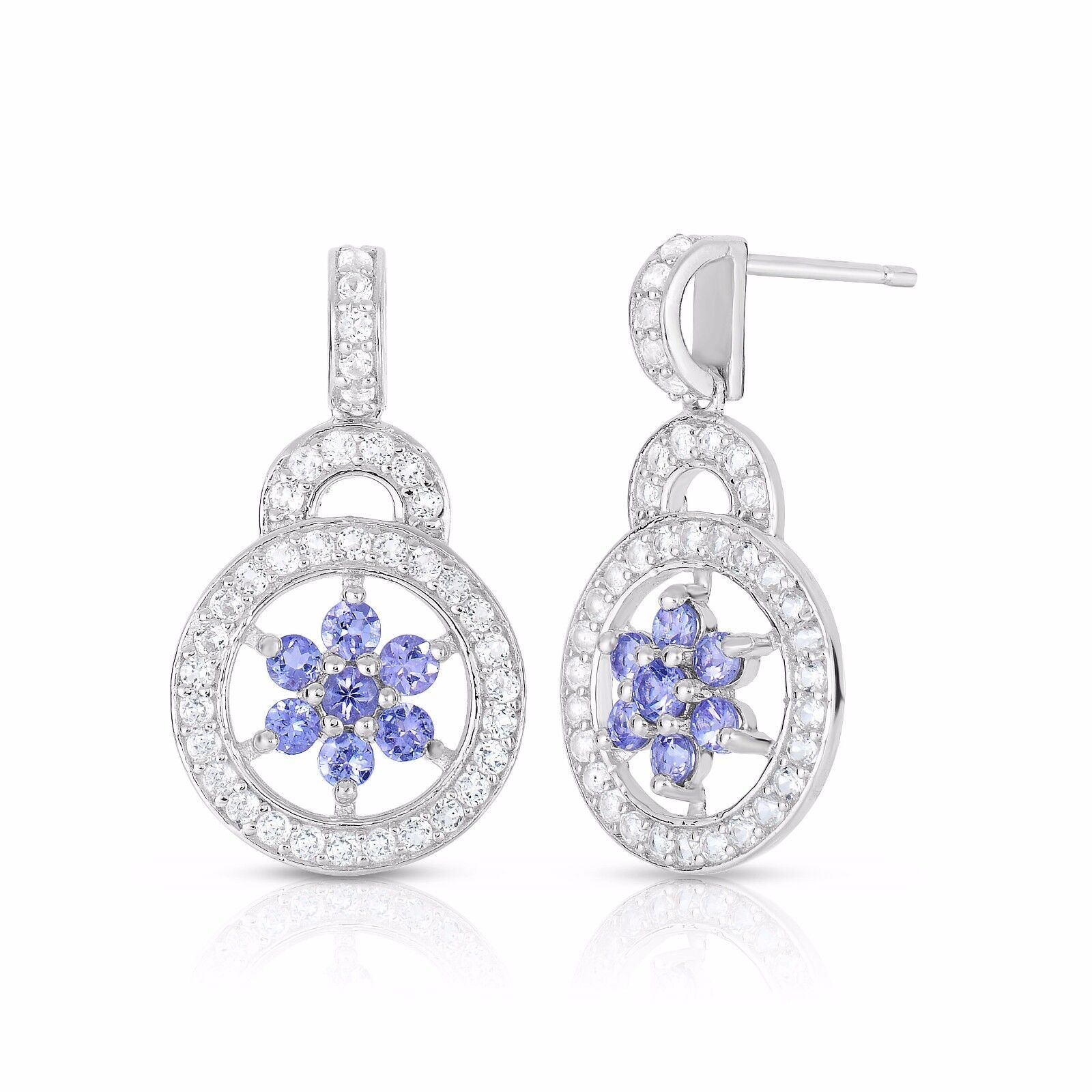 Details About Natalia Drake Sterling Silver 1 86 Cttw Tanzanite White Topaz Earring
