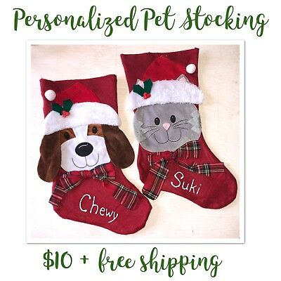 Personalized Custom Pet Stocking - Cat or - Christmas Stocking Personalized