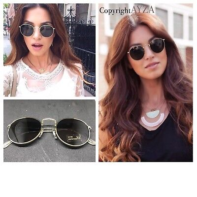 AYZA Round Rund Metal Sonnenbrille Fashion Damen So Hot Real Schwarzgold