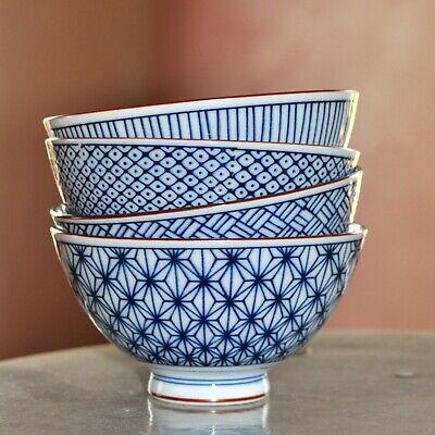 4 Schalen Schälchen Müsli- Suppen- Nudel- Reisschale Japan Muster Blau