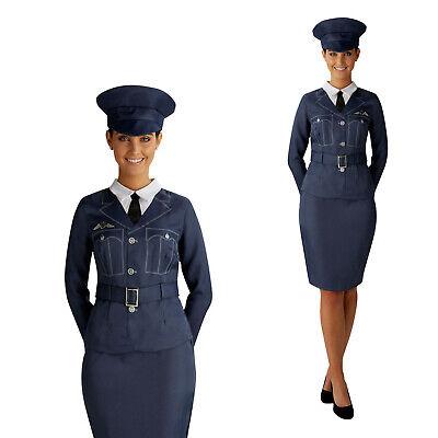 Rubies Womens W.R.A.F Uniform Costume New Ladies WW2 Air Force Pilot Fancy Dress