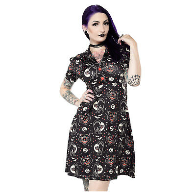 Women's Bats Black Cats Halloween Retro Pin-Up Vintage Style Costume Dress