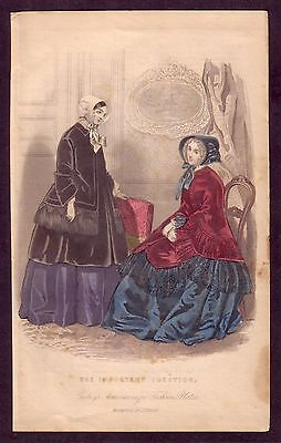1850s Antique Victorian Period Lady Fashion Costume Color Art Decor Print