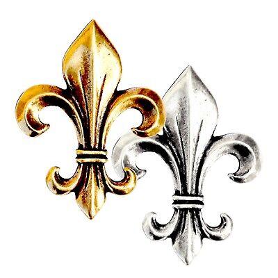 XXL Zierniete LILIE Fleur de Lis Lys silber- oder gold-farben 6x5 cm Mittelalter Fleur De Lis Lys