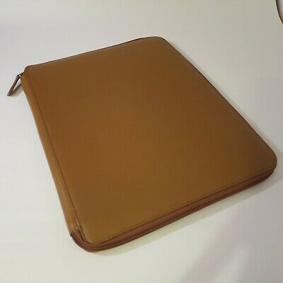 Levenger Brown Leather Zippered Portfolio Padfolio 11 X 14 Good Condition