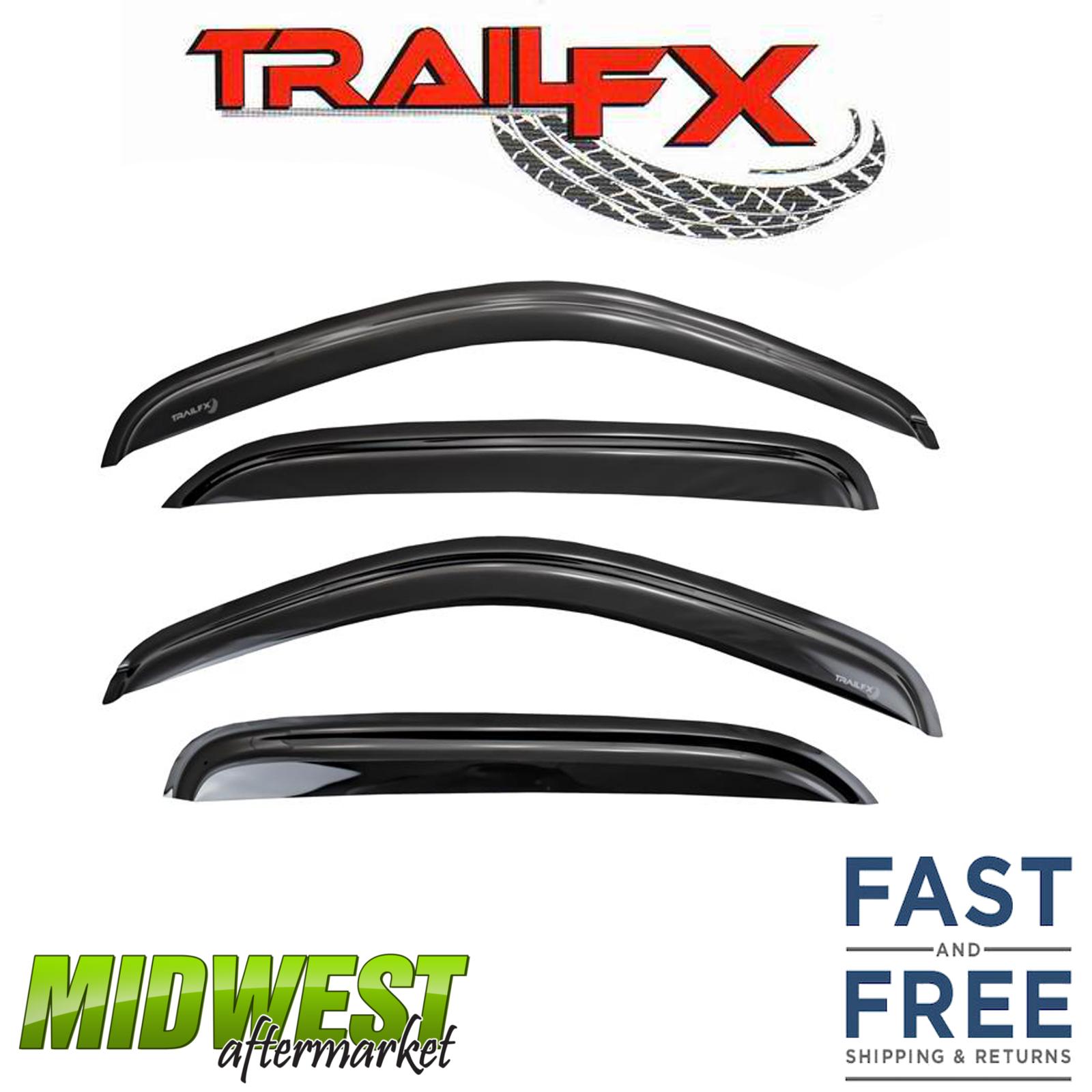 TrailFX Smoke Tape-On Rainguard Vent Visor 4 Piece Set For 2004-2014 Ford F-150