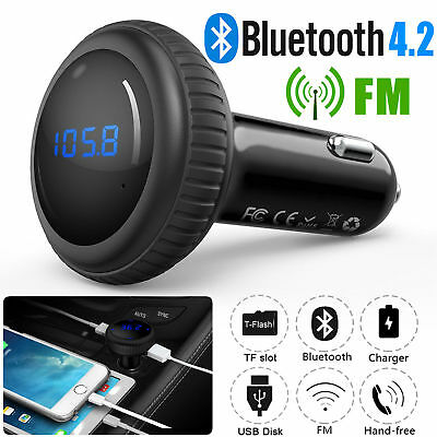 Bluetooth 4 2 Fm Transmitter Wireless Mp3 Tf Radio Adapter Usb Charger Car Kit