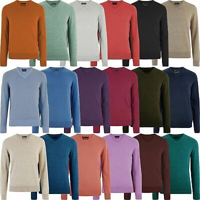 M&S Mens V Neck Jumper Long Sleeve Soft Knit Smart Office Sweater Pullover New