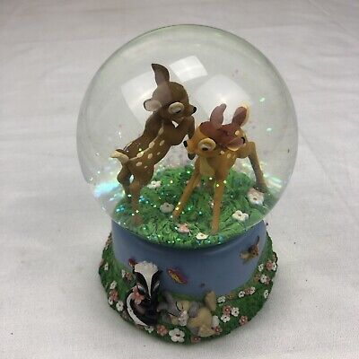 Disney Enesco Bambi Waltz of the Flowers Musical Snow Globe Bambi & Feline