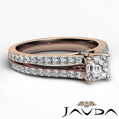 Asscher Shape Diamond Engagement Prong Set Ring GIA Certified F Color VS2 1.15Ct 11