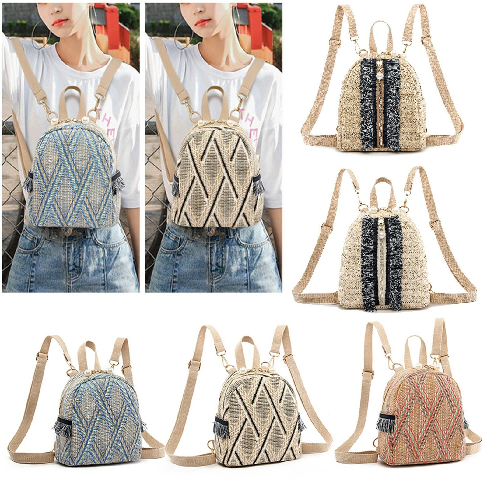 straw woven small travel backpack women stripe