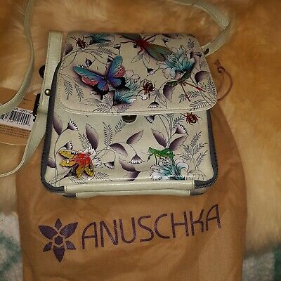 Anuschka Triple Compartment Crossbody Organizer  floating feathers