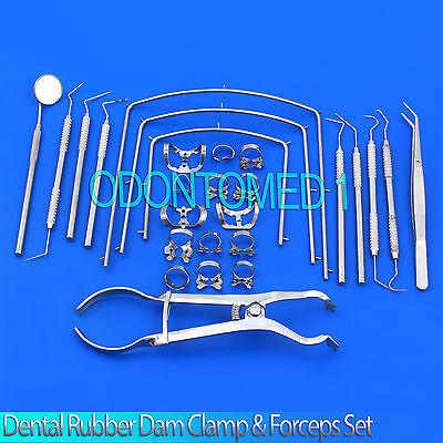 Premium Endodontic Complete Kit Dental Rubber Dam Clamps Forceps Set 27 Pcs