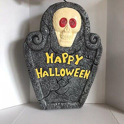 "Vintage Blow Mold Halloween TOMBSTONE 24"" Skeleton Light Up Yard Decoration 1997"