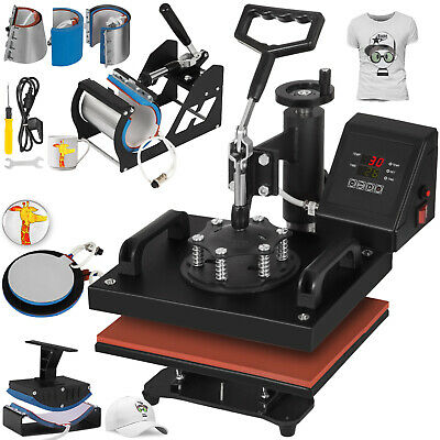 8in1 Combo T-shirt Heat Press Machine Clamshell Diy Printer Transfer 12x10