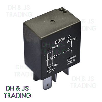 Micro Relay 4 PIN 12v 20a + Diode Normally Open Mini 20 amp CAR VAN MARINE MRY3