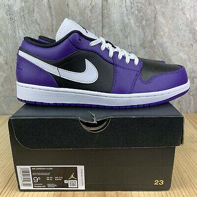 Air Jordan 1 Low Court Purple Black Toe White Size 9.5 Mens Shoes