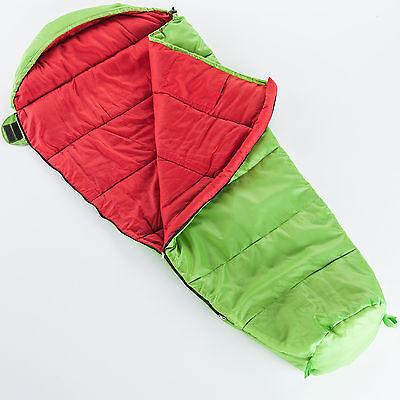 Skandika Vegas Junior Kinder Schlafsack 170x70cm grün/rot Packsack -12°C Neu