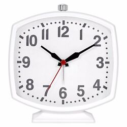 Metal Soft Rectangle Alarm Clock Glossy White - Ahston Sutton