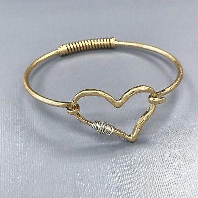 (Gold Finished Hammered Heart Shape Silver Wired Design Spring Hook Eye Bracelet)