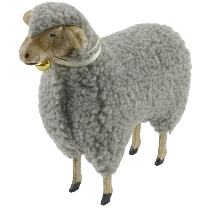 """Gray Wooly Easter German Style White Sheep Lamb Figure with Bell 5 1/2"""" Sz Putz"""