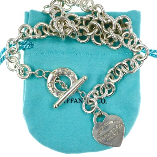 """Tiffany & Co Large Sterling Silver Return to Tiffany Heart Toggle Necklace 17.5"""""""