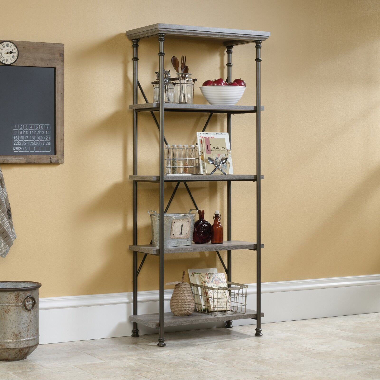 Forge industrial style tall bookcase shelving metal frame in dark oak effect