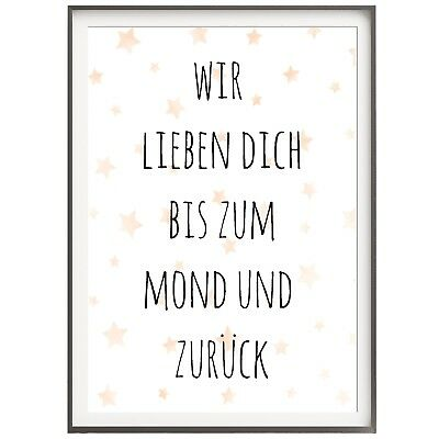 KINDERZIMMER Druck Print Poster Bild  Kunstdruck   BIS ZUM MOND UND ZURÜCK