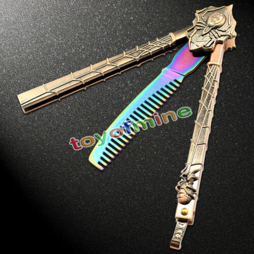 Dull Knife colorato Araneid FARFALLA pettine Trainer Pratica Balisong acciaio