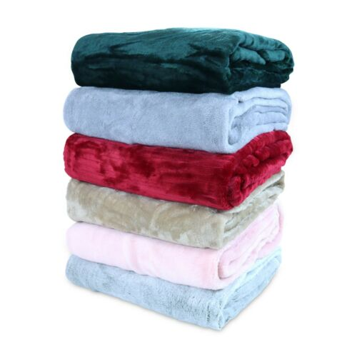 Bulk Lot of 12 Coral Fleece Blankets - 50 x 60 Assorted Soft Throw Blanket Set