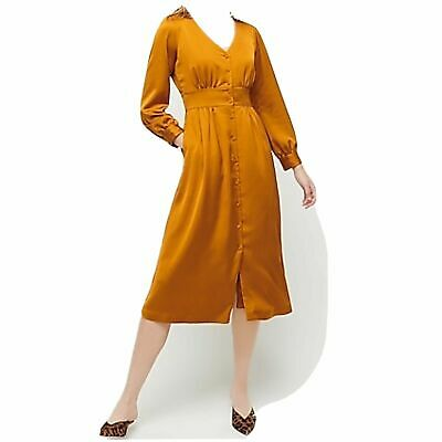 J Crew Button Front A Line Midi Dress Warm Caramel Mustard Yellow SZ 4 NWT $138