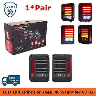 Pair LED Tail Light Rear Brake Reverse Lamps US Model For 07-16 Jeep Wrangler JK