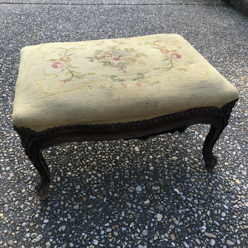 Small Antique Carved Wood French Provincial Shabby Chic Needlepoint Footstool