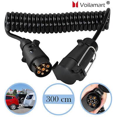 7 polig 300 cm Anhänger Verlängerungskabel Spiralkabel 12V Stecker M/W Trailer