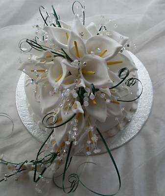 Wedding Flowers Large Cake Topper Shower Bouquet White Calla Lily With Crystals  Calla Lily Bouquet Cake