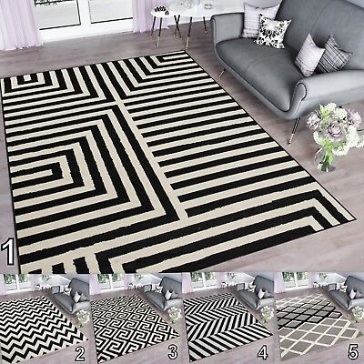 High Trellis (Top Modern Rugs High Quality Trellis Zig Zag Geometric Design Carpets Short Pile)