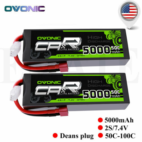 2X Ovonic 50C 5000mAh 7.4V 2S Lipo Battery for Traxxas Slash