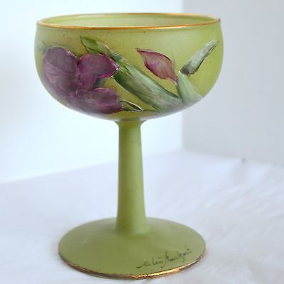 Hand Painted Art Frosted Green Glass Stemware Champagne Sherbet Pink Floral USA