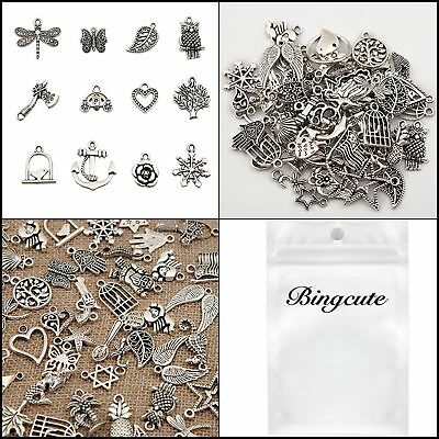 100 Pc Wholesale Bulk Lot of Tibetan Silver Plated Mixed Pendants Charms Jewelry