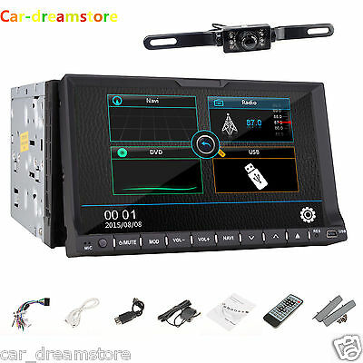 7 TouchScreen 2Din Radio Stereo In Dash GPS Navigation HD Car DVD Player TV+ Cam