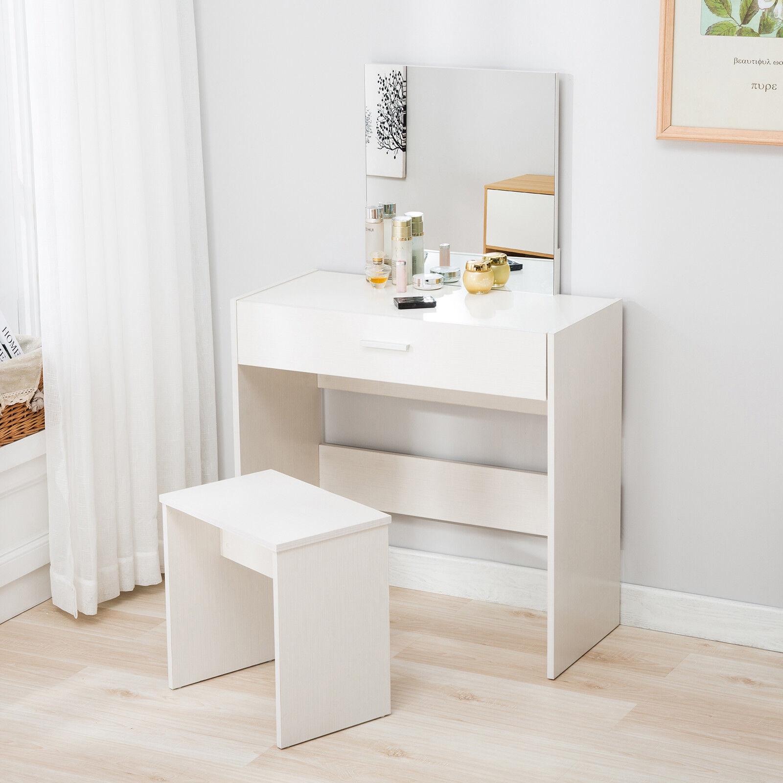 Superbe Vanity White Dressing Table And Stool Set Makeup Dresser Desk W/Mirror  Drawer