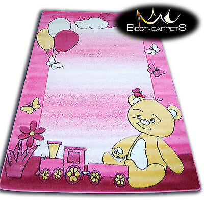 THICK RUGS 'HAPPY' CARPETS FOR KIDS TEDDY BEAR PINK CHILDREN CHEAP
