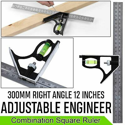 300mm (12'') Adjustable Right Angle Ruler Engineers Combination Try Square Set