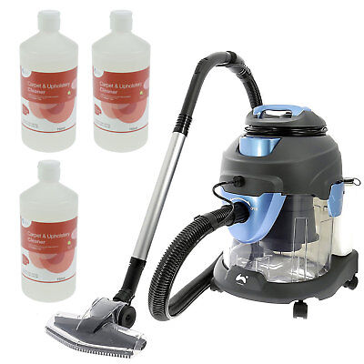 4 in 1 Carpet Washer Vacuum Cleaner Wet Dry Vac + FREE Carpet Shampoo 3 x 750ml