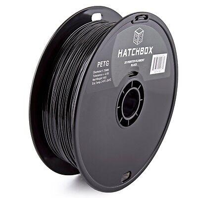 HATCHBOX PETG 1.75 mm 3D Printer Filament in Black, 1kg Spool
