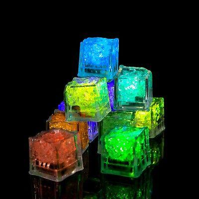 6 - 96 LED Ice Cubes Flashing Light Up  Bar Water Submersible Liquid Sensor Cube