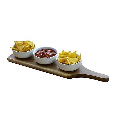 Set Of 3 Dipping / Snack / Tapas Serving Bowls Dishes Wooden Serving Paddle