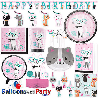 Purr-fect Kitty Cat Birthday Party Tableware Decorations Supplies