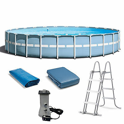 Intex 24 Feet x 52 Inches Prism Frame Pool Set with Ladder, Cover, and Pump